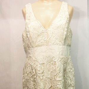Adrianna Papell Evening Gown Size 14 Cream Lace Pl
